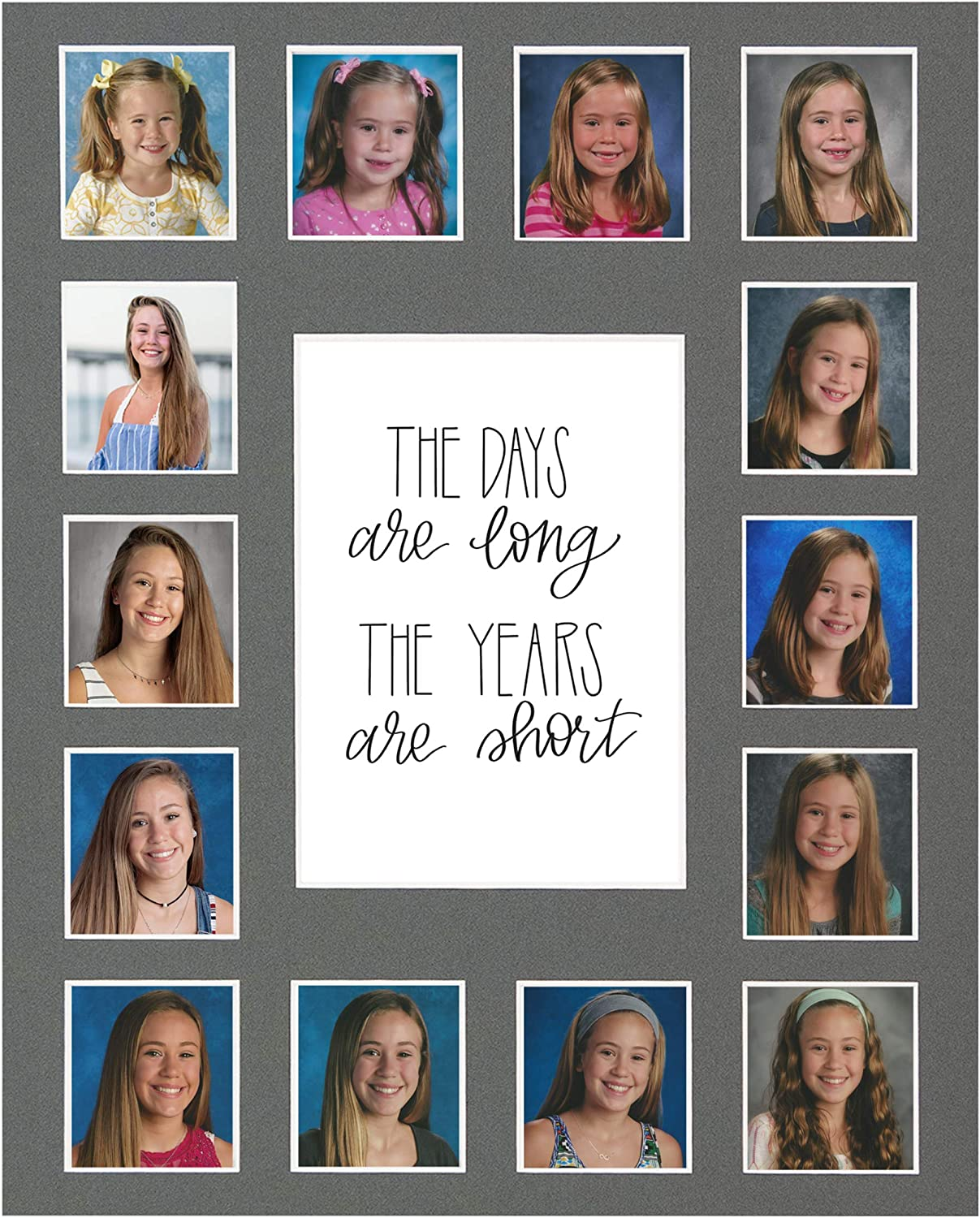 The Days are Long Picture Mat 13 Photos, K-12th, White Kindergarten to 12th Grade Graduation All Things For Mom School Days Picture Mat with Multiple Openings School Years Photo Collage