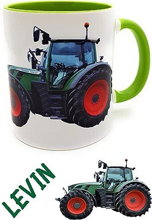 Preisvergleich für Traktortasse mit Wunschname, Namenstasse Trecker Henkelbecher für kleine & große Landwirte grün