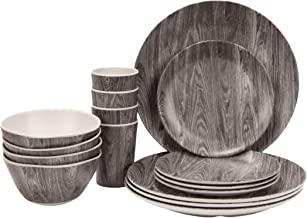 16-Piece Bamboo Fiber Dinnerware Set for Adults and Children, lightweight, durable, eco-friendly, adequate sized, picnic f...
