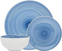 مجموعة أدوات المائدة لولبية زرقاء من البورسلين للسلطة العشاء وعاء الحساء - مجموعة من 12 قطعة