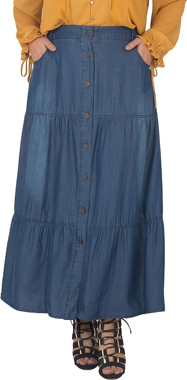 Standards & Practices Women's Plus Size Tencel Denim Maxi Peasant Skirt
