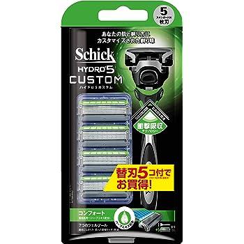 シック Schick 5枚刃 ハイドロ5 カスタム コンフォート 本体+替刃5コ付コンボパック 男性 カミソリ 髭剃り メンズ 替刃は本体に装着済み