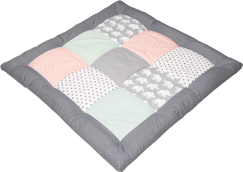 verde menta 80x80 cm, ideale come copertina per la carrozzina, adatta come tappeto gioco Tappeto per neonato ULLENBOOM /® elefanti rosa