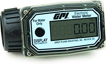 GPI 113255-5, 01N31LM Aluminum Turbine Water Flowmeter with Digital LCD Display, 10-100 LPM, 1-Inch FNPT Inlet/Outlet