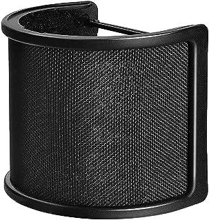 マイクポップガード ポップガード マイクフィルタ ノイズ防止 ポップブロッカー 弾性ゴムバンド付き 45mm-63mmのマイク対応 金属ネット層 録音 動画投稿 演奏録音