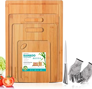 Bamboo Cutting Board Sets 4PCS Thick Chopping Board with Handles and Juice Groove-Send 1PC Knife Sharpener & 1PC Knife Mas...