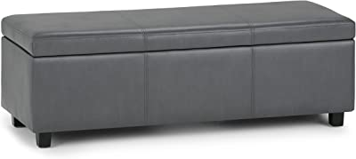 Simpli Home Avalon 48 inch Wide Rectangle Lift Top Storage Ottoman Bench in Upholstered Stone Grey Faux Leather with Large Storage Space for the Living Room, Entryway, Bedroom, Contemporary