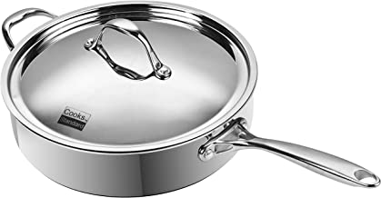 Cooks Standard 2460 10.5-Inch/4 Quart Multi-Ply Clad Deep Saute Pan with Lid, Stainless Steel