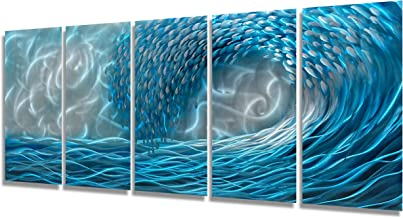 Modern Outdoor Wall Decor 3D Waves Metal Art Scuplture Hand Polished Home Accent Multi Panel Artwork Ready to Hang