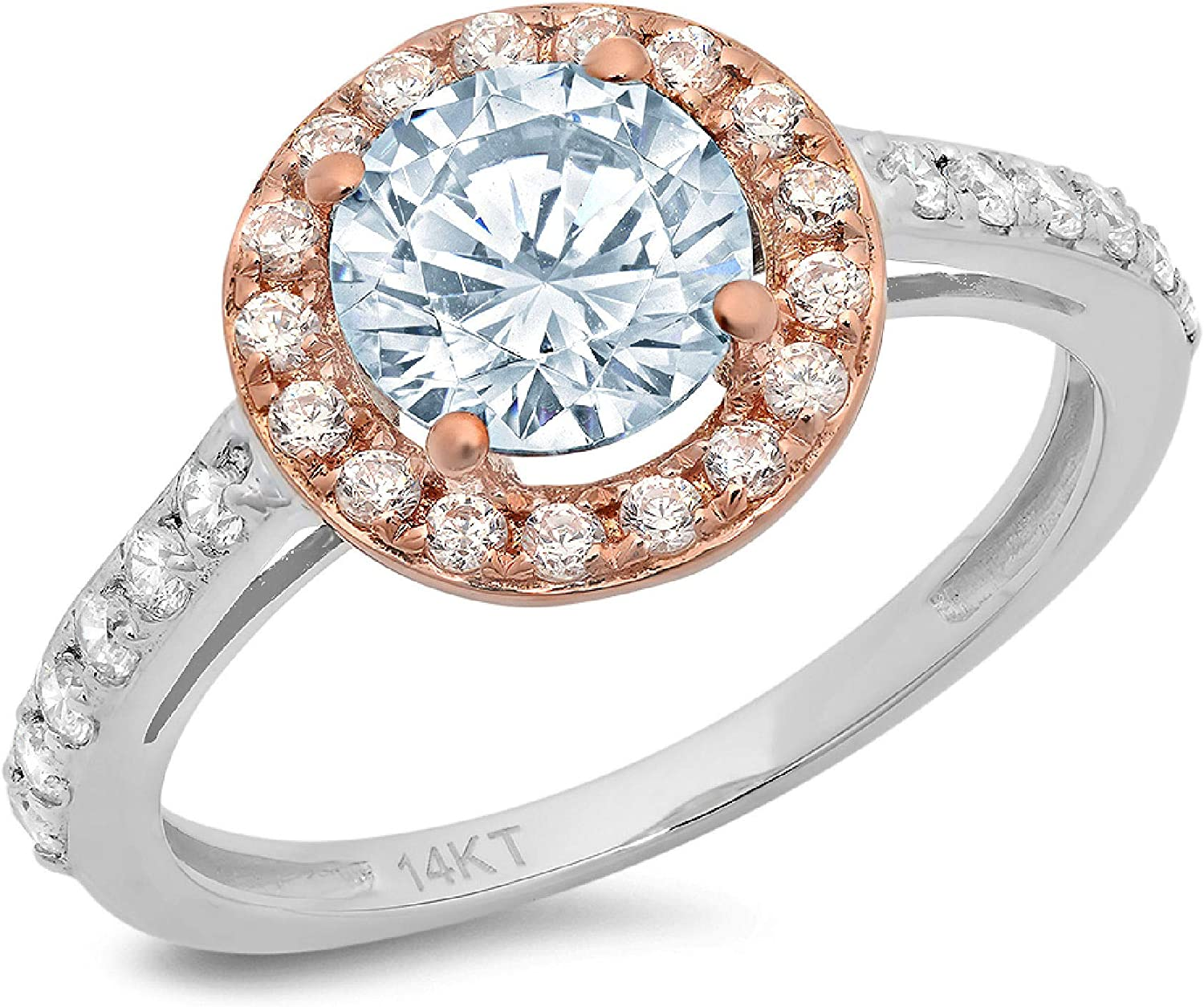 2.40 ct Round Cut Solitaire Accent Halo Genuine Flawless Blue Simulated Diamond Gemstone Engagement Promise Statement Anniversary Bridal Wedding Ring Solid 18K White & Rose Gold