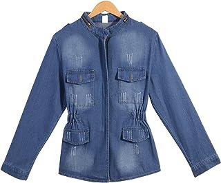 QZUnique Women Denim Jacket Casual Slim Long Sleeve Jean Jacket Plus Size Girls Short Denim Coat Outwear