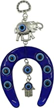Bravo Team Lucky Blue Evil Eye Hanging Horse Shoe, Elephant and Hamsa for Protection and Blessing, Elephant for Strength and Power, Pendant Decoration for Car, Home and Office, Great Gift