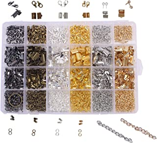 BIHRTC 24 Style 1860 Pcs Jewelry Making DIY Kit Accessories Lobster Clasps, Screw Eyes Pin, Cord Ends, Ribbon Ends, Jump Rings, Extension Chain with Jump Ring Open Tool in a Clear Box