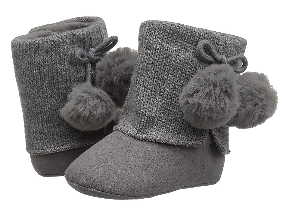 Baby Deer Soft Sole Sweater Boot with Pom Pom (Infant) (Grey) Girls Shoes