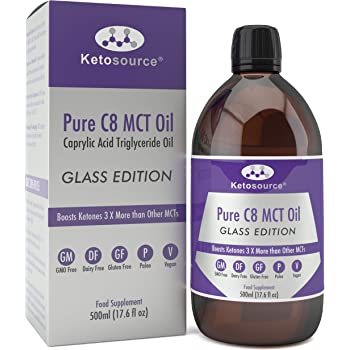 Olio C8 MCT Premium | 3X C8 in più Rispetto Agli Oli MCT | Trigliceridi Acidi Caprilici Puri | Paleo, Glutine e Vegano friendly | Bottiglia BPA free | Ketosource®