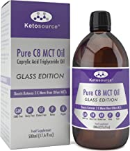Pure C8 MCT Oil in Glass Bottle 100 Recyclable Glass Highest Purity 99 8 C8 MCT Keto Professional Designed Lab Tested Vegan Paleo Compliant Gluten Dairy GMO Free KetosourceA Estimated Price : £ 18,97