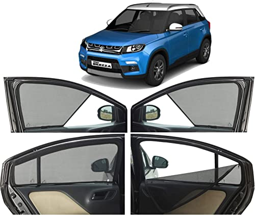 Autofact Half Magnetic Window Sunshades/Curtains for Maruti Brezza [Set of 4pc - Front 2pc Half Without Zipper ; Rear...