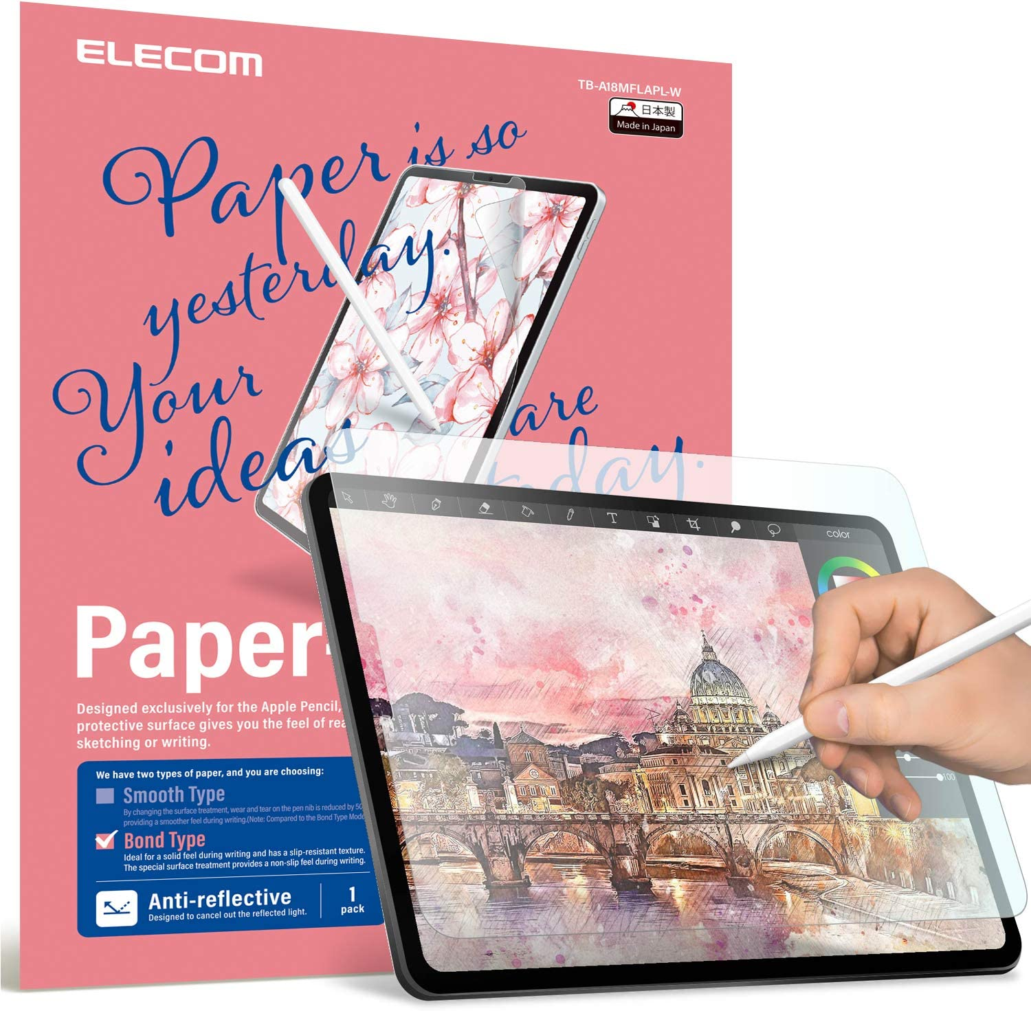 ELECOM Pencil-Feel Screen Protector Designed for Drawing, Anti-Glare Scratch-Resistant Bubble-Free, Compatible with iPad Air 4 (10.9inch, 2020) / iPad Pro 11