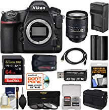 Nikon D850 Wi-Fi 4K Digital SLR Camera Body with 24-120mm f/4 VR Lens + 64GB Card + Battery & Charger + Case + GPS + 3 Filters Kit