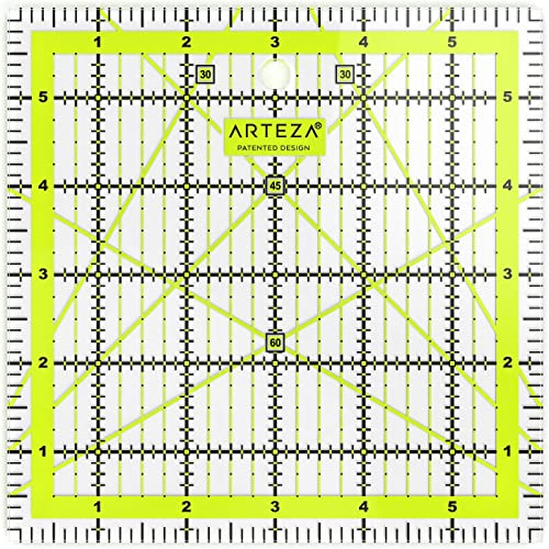 Black /& Lime Green Laser Cut Acrylic Quilters Ruler with Patented Double Colored Grid Lines for Easy Precision Cutting Sewing /& Crafts 2.5 Wide x 18 Long for Quilting ARTEZA Quilting Ruler