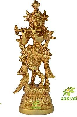Aakrati Brass Murli Krishna Statue - Brass Krishna Idol Murti Statue Sculpture 7 inch