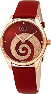 Burgi Women's Watch with Diamond Markers – Sunray Dial with Sparkling Crystal Powder Swirl – Satin Over Genuine Leather Skinny Strap BUR201