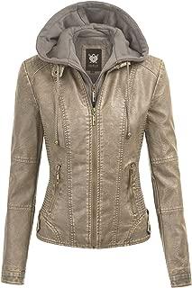 Lock and Love Women's Hooded Faux Leather Moto Biker Jacket (XS~2XL)