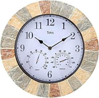 Lily's Home Hanging Wall Clock, Includes a Thermometer and Hygrometer and is Ideal for Indoor and Outdoor Use, Wonderful Housewarming Gift for Friends, Faux-Stone (14 Inches)