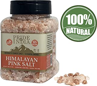 Pride Of India - Dark Himalayan Pink Salt Crystals w/ 84+ Natural Minerals, Coarse 4-5mm - 1 Pound (16 oz) Dual Sifter Jar - Use in Cooking and in Grinders - Superb Value - Authentic Strong Flavor