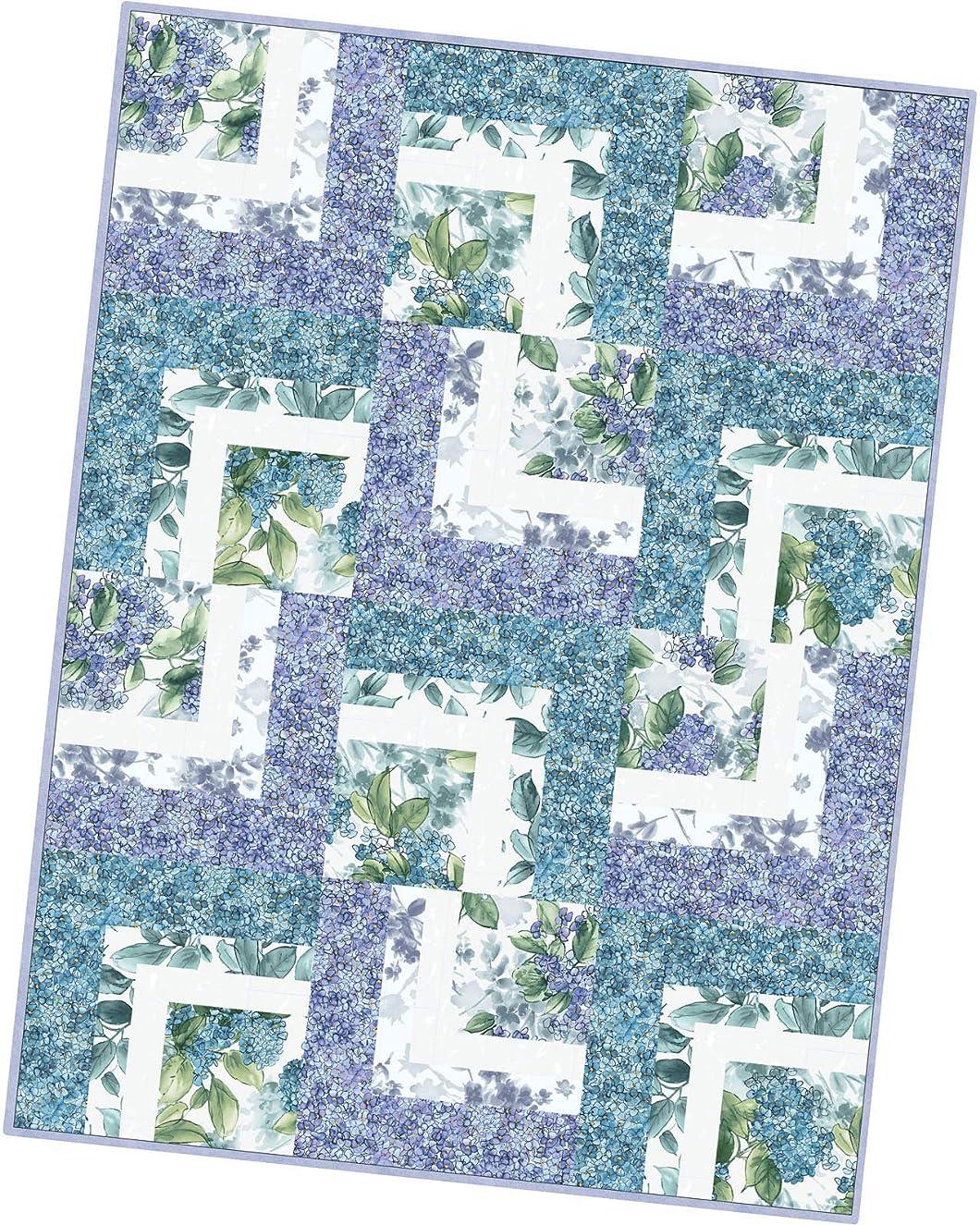 Maywood Studio Watercolor Hydrangeas Corner Cabin Quilt Pod Kit POD-MAS08-WAH