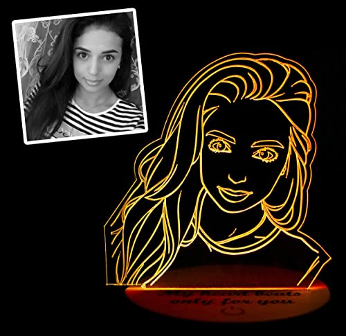 new arrival Personalized Photo Night Light, 3D Custom LED lowest Acrylic Edge Lit Lamp, lowest Picture Night USB Light, Wood Base Engraved Lamp, Photo Engraving Lamp, Birthday, Anniversary, Christmas, Valentine's Day Gift online sale