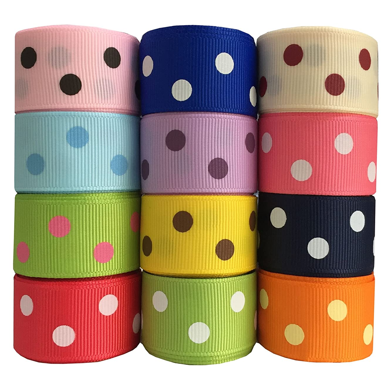 DUOQU 24 Yards 7/8 Inch Polka Dots Printed Grosgrain Ribbon (12 Colors, 2 Yard Each)