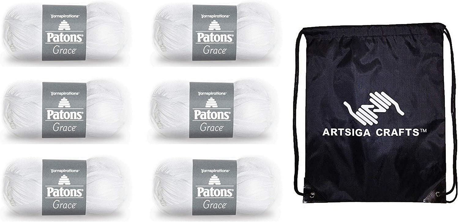 Patons Knitting Yarn Grace Snow 6-Skein Pack L Ranking Popular product TOP19 Same Dye Factory