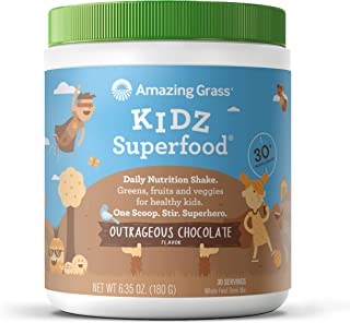 Amazing Grass Kidz Superfood: Organic Greens, Fruits, Veggies & Probiotics for Healthy Kids, Outrageous Chocolate, 30 Serv...