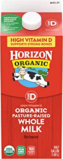 Horizon Organic, Whole Milk, Ultra Pasteurized, Half Gallon 64 oz, Organic Whole Milk, 50% More Vitamin D than Typical Who...