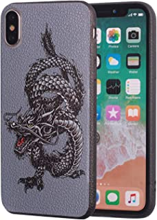 iPhone Xs Max Case,Slim Anti-Scratch Leather Grain Rubber Protective Case for Apple iPhone Xs Max (2018) 6.5 inch - Chinese Dragon