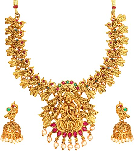 Fashion Jewellery Latest Designer Pearl American Diamond Gold Plated Chocker Temple Jewellery Set for Women Girls