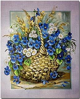 Hudemas Gobelin Stickbild Stickpackung Wildblumen halber Kreuzstich 40x50cm. inkl. Sticktwist cod.491