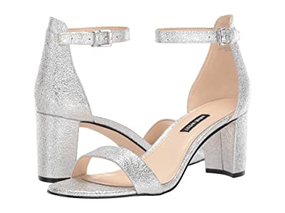Nine West Pruce Block Heeled Sandal (Silver 1) Women