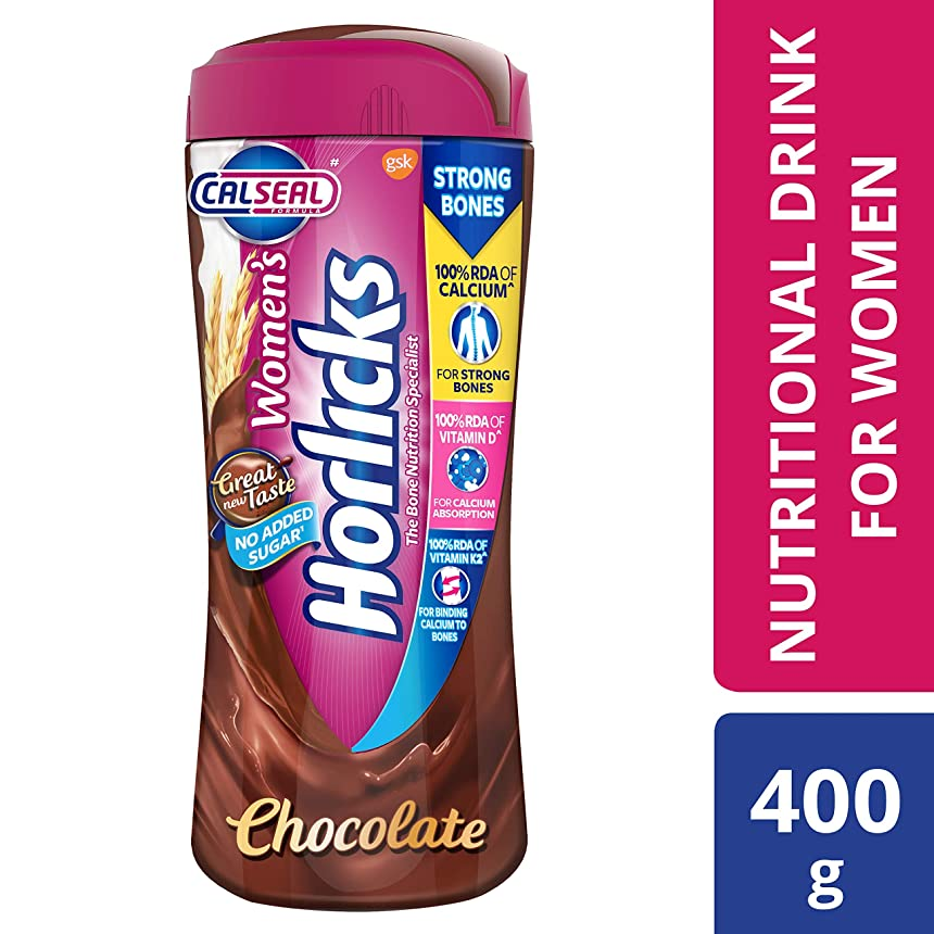 ピース水毎年Women's Horlicks Health and Nutrition Drink, 400 gm, Chocolate Flavor Jar (No Added Sugar)