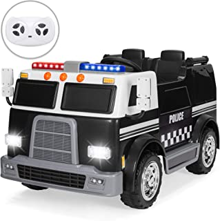 Best Choice Products 12V RC Police Car Ride On w/ USB Port, LED Lights and Sounds, Black