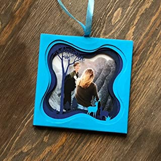 Unique Holiday Photo Ornament Layered Shadow Box-in The Woods Series SHD1 (Blue)