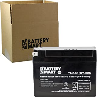 YT4B-BS AGM Maintenance Free Battery Replaces 01-312, 33610-39C20, 43004, 44150, APT4B-BS, CT4B-5, CT4B-BS, GT4B-5 GS, LT4B-5, LT4B-BS, M62T4B, PTX4B-BS, UT4B-BS, WP4B-BS, YT4B-BS, YUAM62T4B