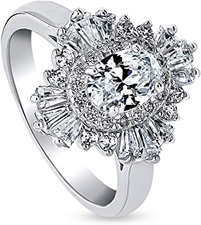 Rhodium Plated Sterling Silver Oval Cut Cubic Zirconia CZ Halo Art Deco Cluster Engagement Ring 1.56 CTW