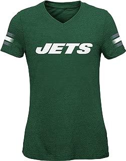 Outerstuff NFL NFL New York Jets Youth Girls Goal Line Short Sleeve Tri-Blend Tee Hunter Green, Youth Medium(10-12)