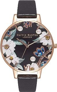 Olivia Burton Women's Quartz Bejewelled Florals analog Display and Leather Strap, OB16BF04
