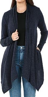 iliad USA Womens Soft Open Front Long Sleeve Pockets Sweater Cardigan