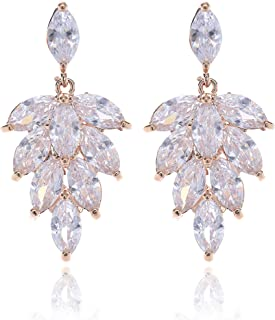 Women's Cubic Zirconia Wedding Earrings - Sterling Silver CZ Crystal Rhinestone Floral Leaf Cluster Earrings for Bride Bridesmaids Mother of Bride Prom Party for Girls