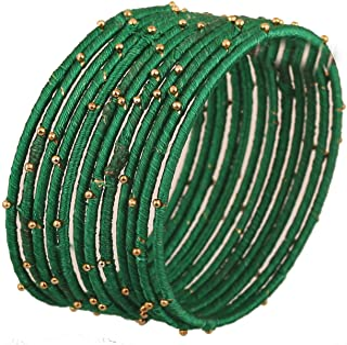 مجموعة Touchstone New Silk Thread Bangle مجموعة من 12 سوار مصنوع يدويًا هندي من الحرير الصناعي بمظهر غريب مع خرز ذهبي