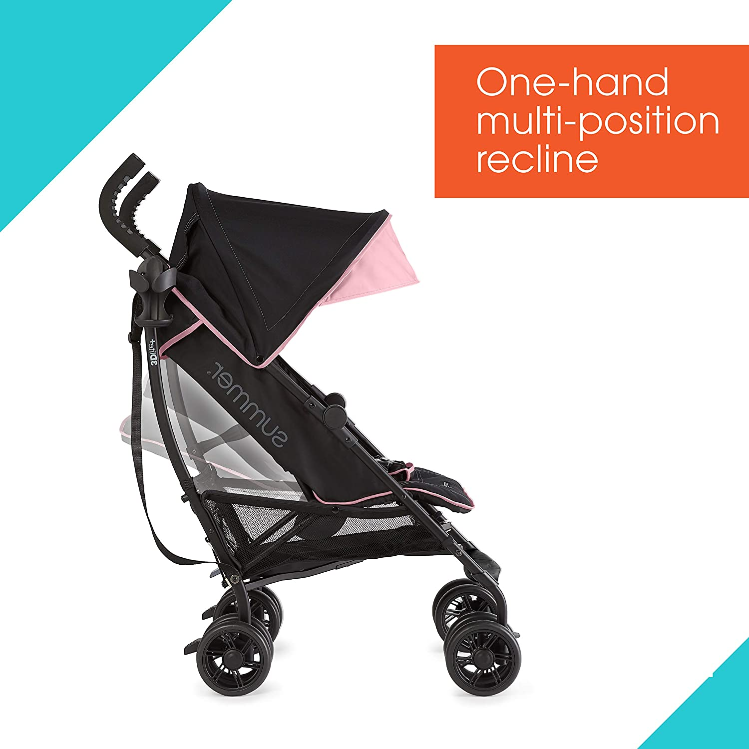 Summer 3Dlite+ Convenience Stroller, Pink/Matte Black – Lightweight Umbrella Stroller with Oversized Canopy, Extra-Large Storage and Compact Fold